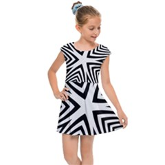 Abstract Zebra Stripes Pattern Kids  Cap Sleeve Dress by SpinnyChairDesigns