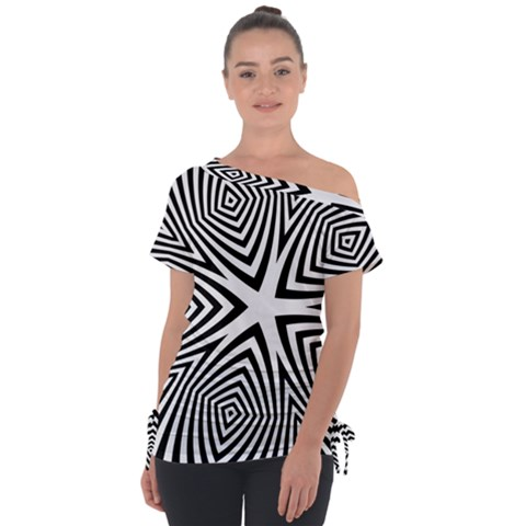 Abstract Zebra Stripes Pattern Tie-up Tee by SpinnyChairDesigns