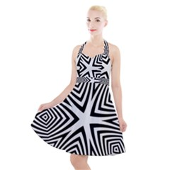 Abstract Zebra Stripes Pattern Halter Party Swing Dress