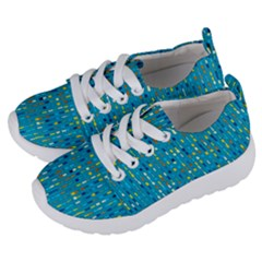 Aqua Blue Artsy Beaded Weave Pattern Kids  Lightweight Sports Shoes by SpinnyChairDesigns