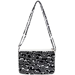 Abstract Black And White Bubble Pattern Double Gusset Crossbody Bag