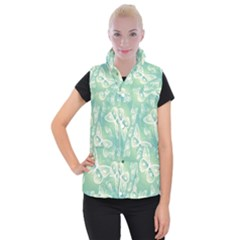 Turquoise Light Green Butterfly Pattern Women s Button Up Vest