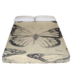 Vintage Ink Stamp On Paper Monarch Butterfly Fitted Sheet (king Size)