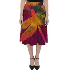Dragonflies Abstract Colorful Pattern Classic Midi Skirt by SpinnyChairDesigns