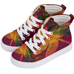 Dragonflies Abstract Colorful Pattern Kids  Hi-top Skate Sneakers by SpinnyChairDesigns