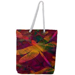 Dragonflies Abstract Colorful Pattern Full Print Rope Handle Tote (large)
