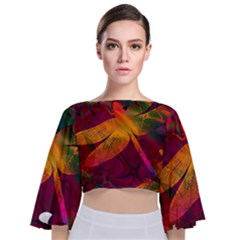 Dragonflies Abstract Colorful Pattern Tie Back Butterfly Sleeve Chiffon Top