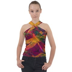 Dragonflies Abstract Colorful Pattern Cross Neck Velour Top by SpinnyChairDesigns