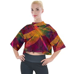 Dragonflies Abstract Colorful Pattern Mock Neck Tee by SpinnyChairDesigns