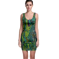 Jungle Print Green Abstract Pattern Bodycon Dress by SpinnyChairDesigns