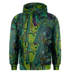 Jungle Print Green Abstract Pattern Men s Core Hoodie by SpinnyChairDesigns