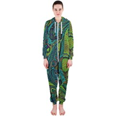 Jungle Print Green Abstract Pattern Hooded Jumpsuit (ladies)  by SpinnyChairDesigns