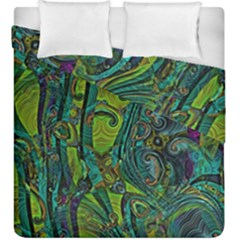 Jungle Print Green Abstract Pattern Duvet Cover Double Side (king Size) by SpinnyChairDesigns
