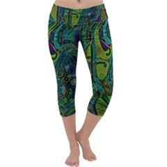 Jungle Print Green Abstract Pattern Capri Yoga Leggings by SpinnyChairDesigns