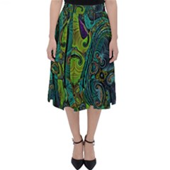 Jungle Print Green Abstract Pattern Classic Midi Skirt by SpinnyChairDesigns