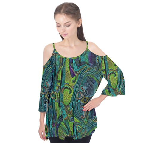 Jungle Print Green Abstract Pattern Flutter Tees by SpinnyChairDesigns