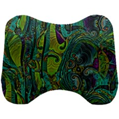 Jungle Print Green Abstract Pattern Head Support Cushion by SpinnyChairDesigns