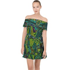Jungle Print Green Abstract Pattern Off Shoulder Chiffon Dress by SpinnyChairDesigns