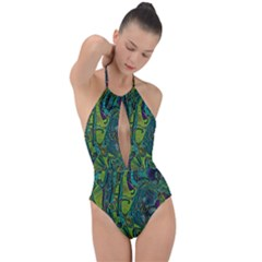 Jungle Print Green Abstract Pattern Plunge Cut Halter Swimsuit by SpinnyChairDesigns