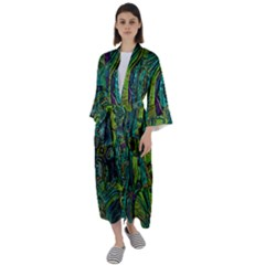 Jungle Print Green Abstract Pattern Maxi Satin Kimono by SpinnyChairDesigns