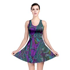Purple Teal Abstract Jungle Print Pattern Reversible Skater Dress