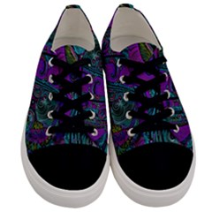 Purple Teal Abstract Jungle Print Pattern Men s Low Top Canvas Sneakers