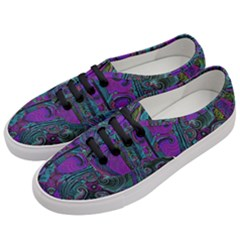 Purple Teal Abstract Jungle Print Pattern Women s Classic Low Top Sneakers by SpinnyChairDesigns