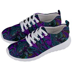 Purple Teal Abstract Jungle Print Pattern Men s Lightweight Sports Shoes by SpinnyChairDesigns