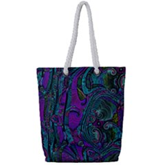 Purple Teal Abstract Jungle Print Pattern Full Print Rope Handle Tote (small) by SpinnyChairDesigns