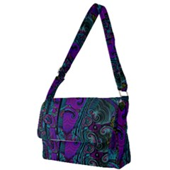 Purple Teal Abstract Jungle Print Pattern Full Print Messenger Bag (s) by SpinnyChairDesigns