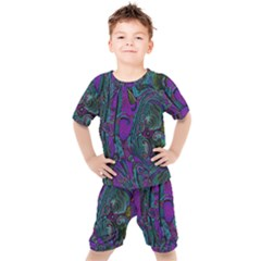 Purple Teal Abstract Jungle Print Pattern Kids  Tee And Shorts Set