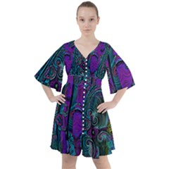 Purple Teal Abstract Jungle Print Pattern Boho Button Up Dress by SpinnyChairDesigns