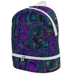 Purple Teal Abstract Jungle Print Pattern Zip Bottom Backpack by SpinnyChairDesigns