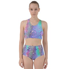 Pastel Marble Paint Swirl Pattern Racer Back Bikini Set by SpinnyChairDesigns