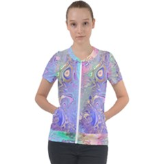 Pastel Marble Paint Swirl Pattern Short Sleeve Zip Up Jacket by SpinnyChairDesigns