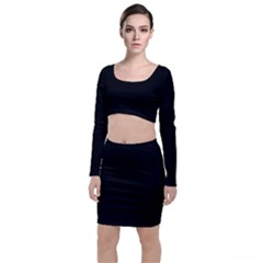 Plain Black Solid Color Top And Skirt Sets by FlagGallery