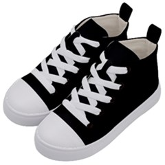 Plain Black Solid Color Kids  Mid-top Canvas Sneakers by FlagGallery
