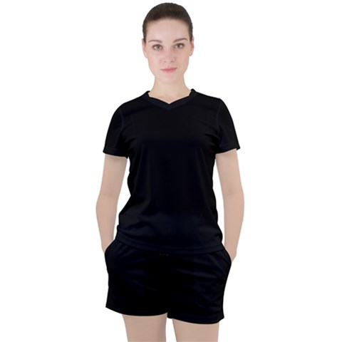 Plain Black Solid Color Women s Tee And Shorts Set by FlagGallery