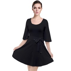 Plain Black Solid Color Velour Kimono Dress by FlagGallery