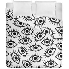 Black And White Cartoon Eyeballs Duvet Cover Double Side (california King Size) by SpinnyChairDesigns