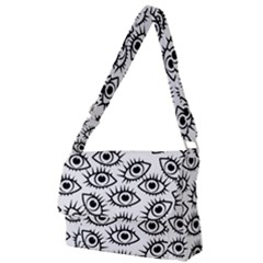 Black And White Cartoon Eyeballs Full Print Messenger Bag (l)