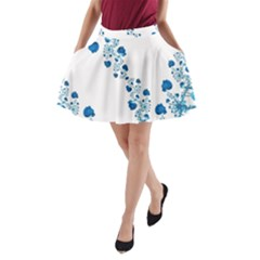Abstract Blue Flowers On White A-line Pocket Skirt by SpinnyChairDesigns