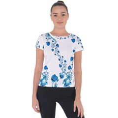 Abstract Blue Flowers On White Short Sleeve Sports Top  by SpinnyChairDesigns