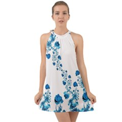 Abstract Blue Flowers On White Halter Tie Back Chiffon Dress