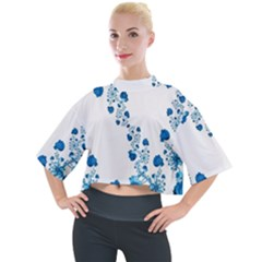 Abstract Blue Flowers On White Mock Neck Tee by SpinnyChairDesigns