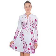 Abstract Pink Roses On White Long Sleeve Panel Dress