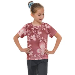 Tea Rose Colored Floral Pattern Kids  Mesh Piece Tee