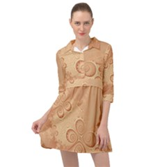 Coral Peach Intricate Swirls Pattern Mini Skater Shirt Dress