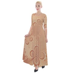 Coral Peach Intricate Swirls Pattern Half Sleeves Maxi Dress by SpinnyChairDesigns