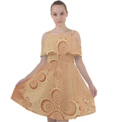 Coral Peach Intricate Swirls Pattern Cut Out Shoulders Chiffon Dress